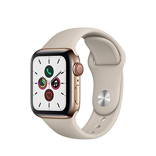 Apple Watch Series 5 (GPS+Cellular, 40 mm) Edelstahlgehäuse Gold - Sportarmband Stein