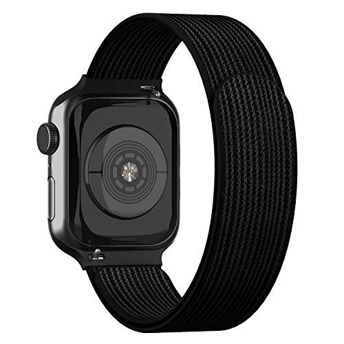Adepoy für Apple Watch Armband,Velcro Klettverschluss Gewebt Nylon Sport Ersatzarmband für iWatch 44mm 38mm 42mm 40mm Apple Watch 5 4 3 2 1(Schwarz,38/40mm)