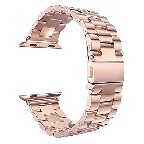 HAFEID Edelstahl Armband kompatibel für Apple Watch Series 5 4 3 2 1 - Breite 42/44 mm (Roségold)