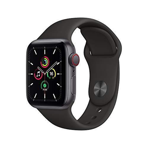 AppleWatch SE (GPS+ Cellular, 40mm) Aluminiumgehäuse Space Grau, Sportarmband Schwarz
