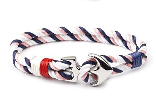 Maritimes Unisex Anker Armband aus Nylon mit Anker aus Edelstahl für Damen und Herren | Auch für Sport geeignet (Pink/Blau/Weiß)