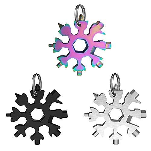 Schneeflocke Multi Tool Edelstahl Schlüsselanhänger Multi-Tool 18 in1 für Outdoor-Reisen Camping Abenteuer Beste Gadgets für Männer (Silber&Schwarz&Farbe)