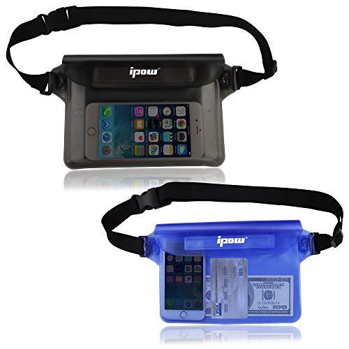 [ 2 Pack ] ipow Wasserdichte Tasche Beutel Hülle Unterwassertasche Bauchtasche vollkommen für iPhone, Handy, Kamera, iPad, Bargeld, Dokumente vor Wasser schützen (Blau + Grau)