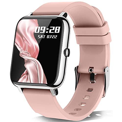 Smartwatch, KALINCO 1.4 Zoll Touch-Farbdisplay mit personalisiertem Bildschirm,Armbanduhr mit Blutdruckmessung,Herzfrequenz,Schlafmonitor, Sportuhr IP67 Wasserdicht Schrittzähler für Damen Herren