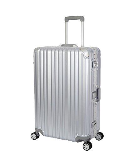 Travelhouse London Koffer Silber L-75cm · Alu-Rahmen · Polykarbonat Hartschale · Trolley Reisekoffer Reisegepäck · 2X TSA Zahlenschloss · 4X Doppelräder · 360° Rollen · Vol. 108L
