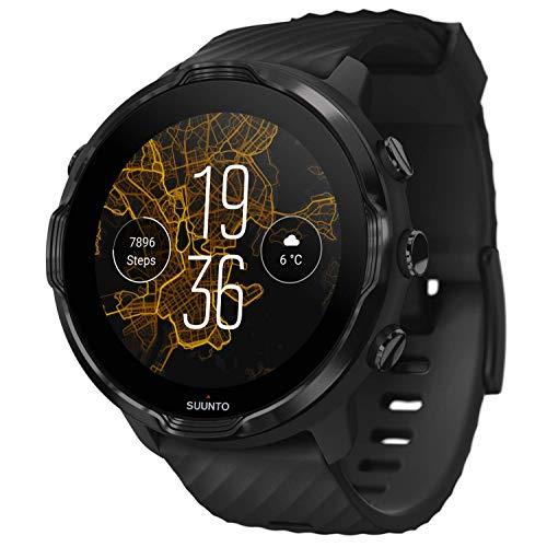 SUUNTO 7, Smartwatch für Sport und Alltag, Unisex, Schwarz, Stahl/Polyamid, Silikon-Armband, Touchscreen, Gorilla-Glas, SS050378000