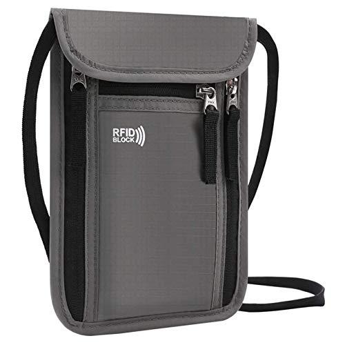 KEAFOLS Brustbeutel Brusttasche mit RFID-Blockierung leichte Reisegeldbeutel Tasche Sicherheit Umhängegeldbeutel für Passport, Kreditkarten, Münzen und Reise Zubehör