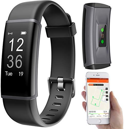 PEARL Sportuhr GPS: Fitness-Armband, GPS-Streckenverlauf, Puls, 13 Sportarten, App, IP67 (Smartwatch GPS wasserdicht)