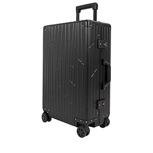 GUNDEL Aluminium Reisekoffer Check-in 66x43x23 cm H/B/T 55L 4x360° Rollen Schwarz 2X TSA-Zahlenschloss