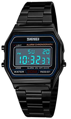 Topsale-ycld Luxus Business Uhr 30M wasserdichte Edelstahl Sportuhr Digital Armbanduhr Uhr Schwarz