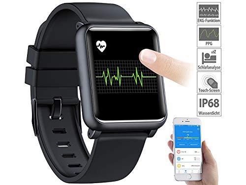 Newgen Medicals Fitnessuhr: Fitness-Uhr mit EKG- & Blutdruckanzeige, Bluetooth, Touchdisplay, IP68 (Smartwatch mit EKG)