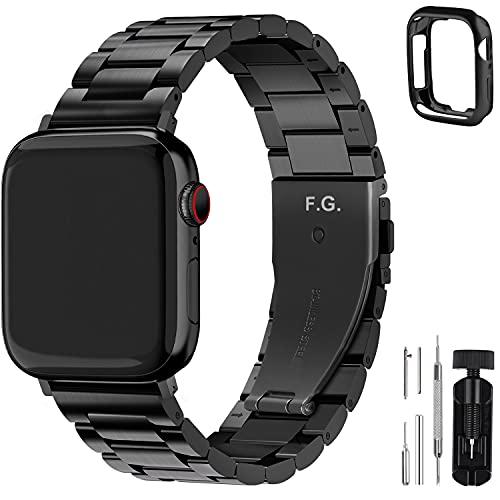 Fullmosa Für Apple Watch Armband 45mm/44mm/42mm Series 7 SE/6/5/4/3/2/1, Edelstahl Ersatzband für iWatch Series, 45mm/44mm/42mm Schwarz