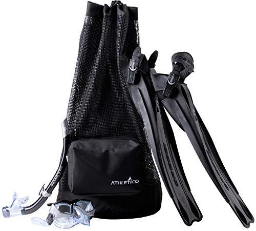 Athletico Tauchtasche – XL Netz-Reiserucksack für Tauchen und Schnorchelausrüstung – Trockentasche hält Maske, Flossen, Schnorchel und mehr (schwarz)