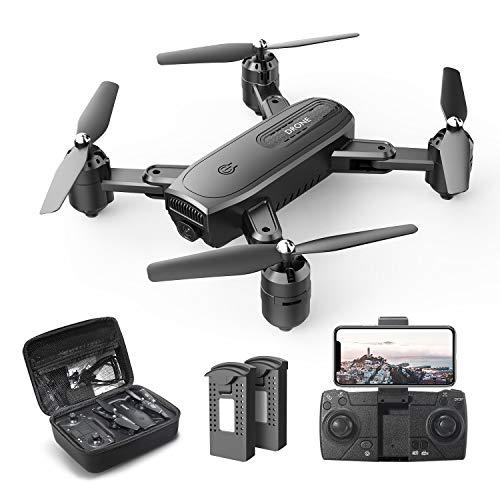DEERC D30 Faltbar Drohne mit 1080P HD Kamera für Kinder,RC Quadrocopter ferngesteuert mit 2 Akkus,FPV Live Übertragung,Lange Flugzeit,Handy Steuerung,Tap Fly,Höhenhaltung,Headless Modus für Anfänger