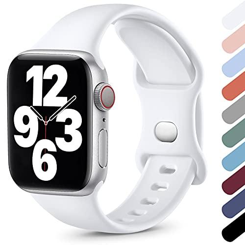 Upeak Sport Armband Kompatibel mit Apple Watch Armband 44mm 40mm 38mm 42mm, Sanft Silikon Ersatz Sportarmband Band für iWatch Armband Series SE/6/5/4/3/2/1, 38mm/40mm-S/M, Weiß