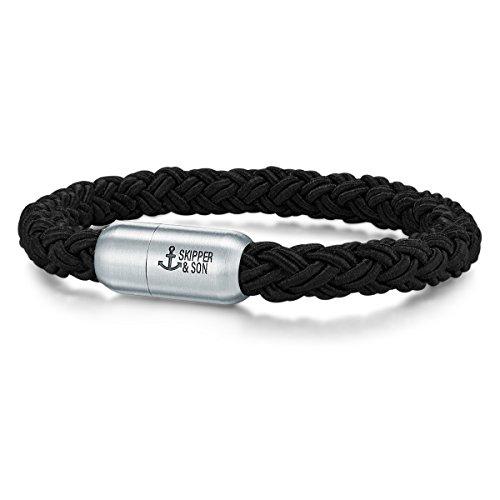 Skipper & Son Herren-Armband Segeltau schwarz Edelstahl - Maritimes Männer-Armband Armbänder Segler mit Geschenkbox