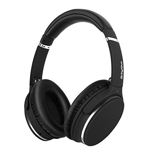 Srhythm Noise Cancelling Kopfhörer Bluetooth 5.0,Faltbar,Kabellos,NC25 (2020) ANC Over Ear mit 50h Akkuleistung,Mikro,Sprachanruf,Spielemodus mit Geringer Latenz for Homeoffice(Matt-Schwarz)