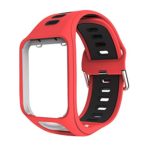 Tomtom Armband Für Tomtom Runner 2 Runner 3 Spark 3 Adventurer Strap Wechselarmband, Premium Tom Tom Ersatzarmband Smartwatch Uhrenarmband Ersatzteile Zubehör Ersatz Multisport Armband (rot)