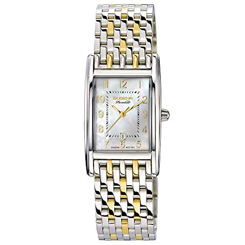 DUGENA Damen-Armbanduhr 7000122-1 Quadra Artdeco, Quarz, Perlmutt Zifferblatt, Edelstahlgehäuse, Saphirglas, Edelstahlarmband, Doppelfaltdrückerschließe, 5 bar