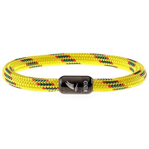 Wind Passion Armband Magnetverschluss Edelstahl Gelb Segeltau Paracord Maritim für Männer und Frauen, Größe X-Large