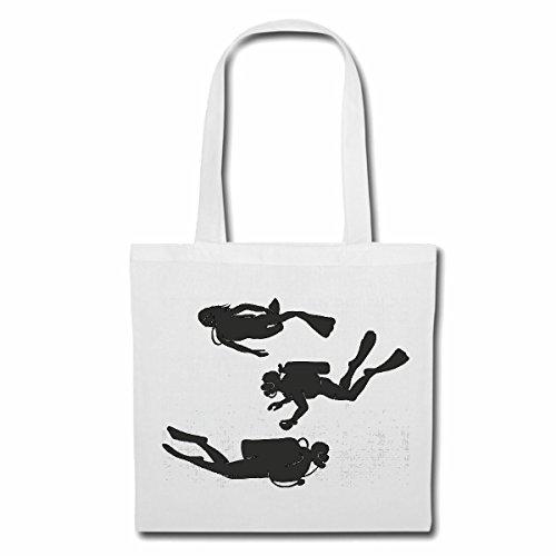 Reifen-Markt Tasche Umhängetasche SILHOUETTE TAUCHEN TAUCHER TAUCHSPORT SCUBA DIVING TAUCHAUSRÜSTUNG Einkaufstasche Schulbeutel Turnbeutel in Weiß