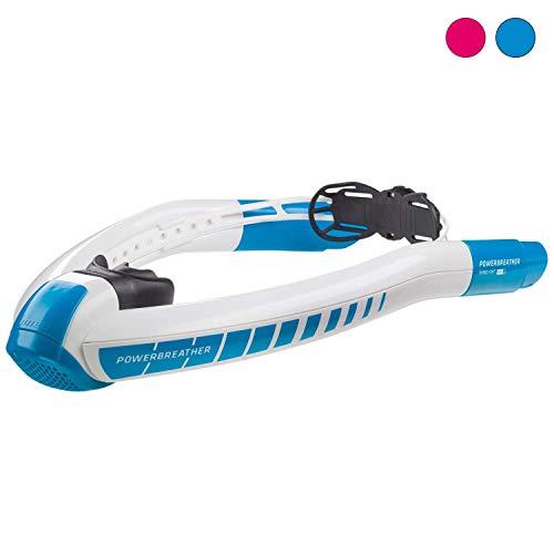 POWERBREATHER Sport Schnorchel - 100% frische Luft und 100% trocken - Schnorchel mit patentierter Ventiltechnik by AMEO Sports - Farbvariante (White/Blue (Blau))