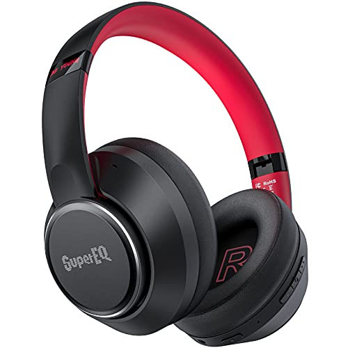 SuperEQ Hybrid Active Noise Cancelling Kopfhörer, Bluetooth 5.0 Kopfhörer Over-Ear mit ANC Geräuschunterdrückung, 45h Akku, Mikrofon, große Ohrpolster, Verbindung von 2 Geräten für iOS/Android/ PC