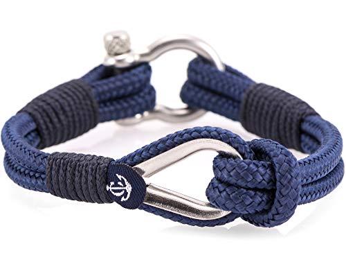 CONSTANTIN NAUTICS SAIL WITH US Maritimes Armband aus Segeltau, handgemacht, für Damen und Herren, mit Edelstahl Schäkel-Verschluss 4mm CNB #709 21 cm