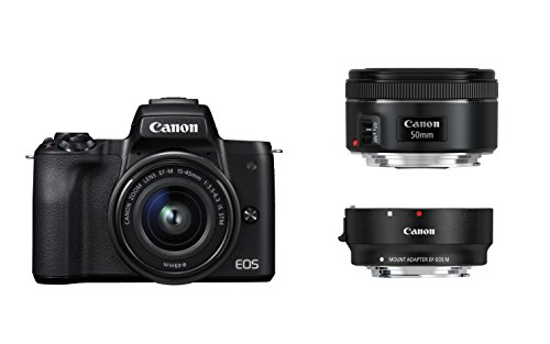 Canon EOS M50 spiegellos Systemkamera mit Objektiven EF-M 15-45mm IS STM + EF 50 1.8 STM + EF Adapter (24,1 MP, 7,5 cm (3 Zoll) Touchscreen LCD, Display, Digic 8, 4K Video, OLED EVF, WLAN, Bluetooth)