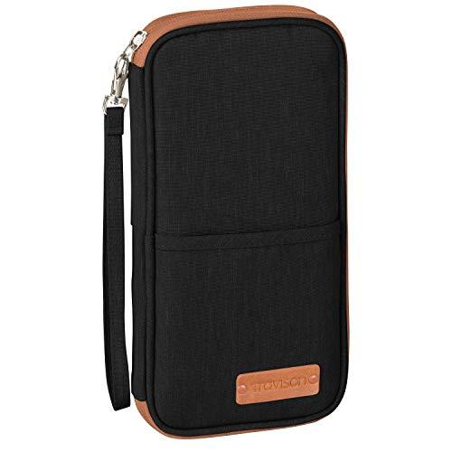 TRAVISON Reisepass-Tasche, RFID Schutz, für 4 Reisepässe, wichtige A4-Dokumente, Kredikarten, Ausweistasche für Tickets und Smartphone, für Mann und Frau – schwarz 25x13cm