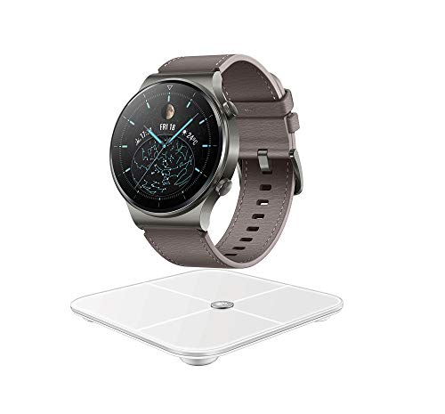 HUAWEI WATCH GT 2 Pro Smartwatch,1.39' AMOLED HD-Touchscreen,2 Wochen Akkulaufzeit,GPS,SpO2, 100+Trainingsmodi,Bluetooth-Anrufe,Herzfrequenzmessung,Nebula Grey-Exklusives Bundle mit HUAWEI Körperwaage