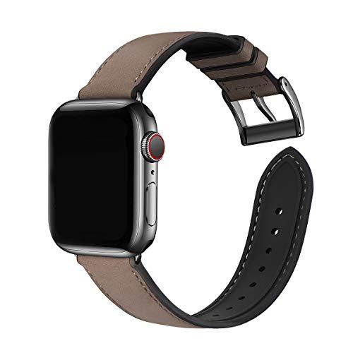 WFEAGL Kompatibel mit Apple Watch Armband 42mm 44mm,Wasserdichter Hybrid Leder Silikon Ersatzarmband Sportriemen, Kompatibel mit iWatch Serie 6/5/4/3/2/1,SE (42mm 44mm DunkelKaffee+Schwarz Adapter)