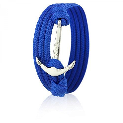 Skipper Anker-Armband mit Silbernem Edelstahl Anker für Damen und Herren - Blau 6580