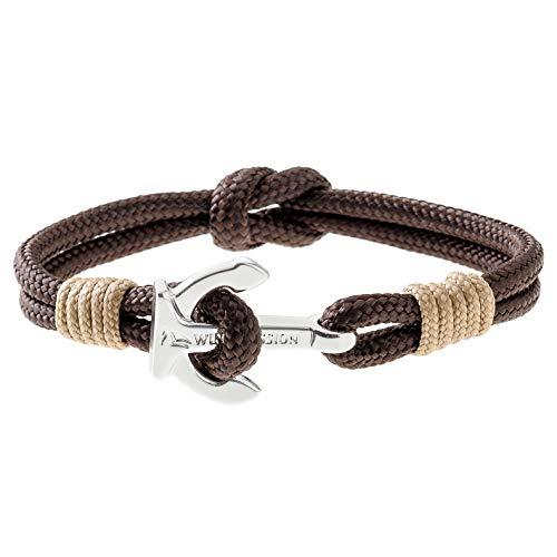 Wind Passion Premium Segeltau Maritim Braun Edelstahl Anker Armband für Männer Frauen, Größe Medium