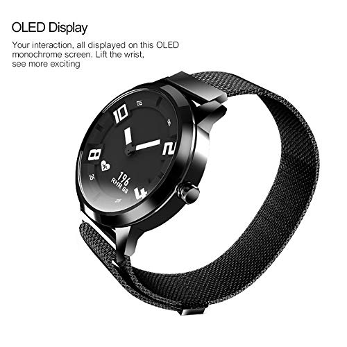 VERYNNA Smart Uhr Uhr Mechanische Smart Watch OLED-Bildschirm Saphirglas Smartwatch 45 Tage Standby 80 M Wasserdichte Pulsuhr, Schwarz