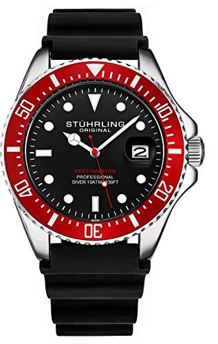 Stuhrling Original Taucheruhr für Herren - Pro Diving Watch - Sportuhren für Herren mit verschraubter Krone wasserdichte Uhr 330 Ft.- Schwarz Analoge Gummiuhr, Quarzuhrwerk (Schwarz) (Red)