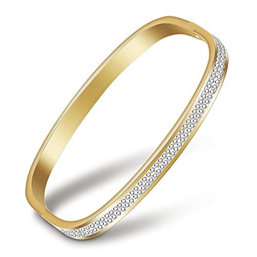 YFZCLYZAXET Armband Armreif Armkette Damen Roségold Silber Farbe Edelstahl Armbänder Armreifen Zirkonia Armband Frauen-83034