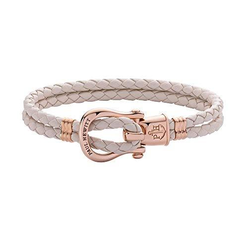 PAUL HEWITT Schäkel Armband Damen PHINITY - Leder Armband Frauen (Rosa), Armband Damen mit Schäkel Verschluss aus IP-Edelstahl (Rosegold)