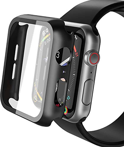 YoLin 2-Stück Mit Panzerglas Ultradünne Displayschutz Kompatibel mit Apple Watch Series 6/ SE/Series 5 / Series 4, PC All-Around Schutzhülle für iWatch 44mm (2 Schwarz)