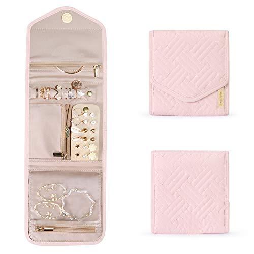 bagsmart Schmuck Organizer Tasche für Reise Schmuckaufbewahrung Reisezubehör für Ringe, Ohrringe, Halsketten, Uhren (Mini-Hellrosa)