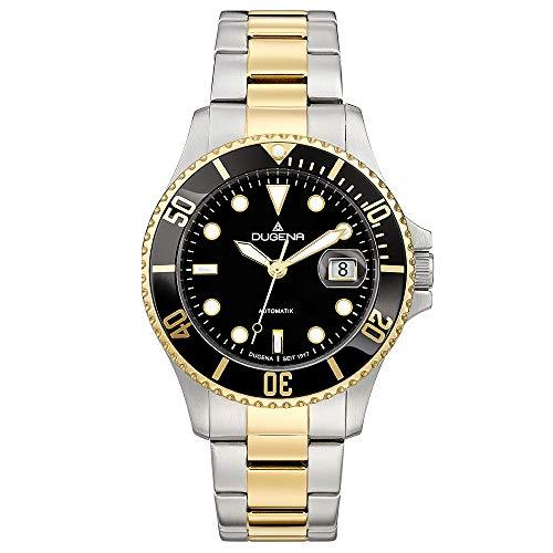 DUGENA Herren-Armbanduhr 4460776 Diver, Automatik, schwarzes Zifferblatt, Indexe, Edelstahlgehäuse, gehärtetes Mineralglas, 10 bar