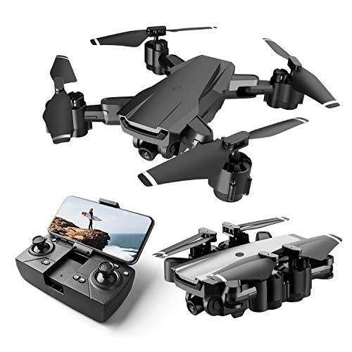 Rolytoy VraiJouet Drohne mit Kamera HD 1080P, Faltbar RC Quadcopter mit FPV WLAN Live Übertragung, 2 Akku Lange Flugzeit, Höhenhaltung, One Key Start/Landen, Headless Modus, RC Drohne für Anfänger