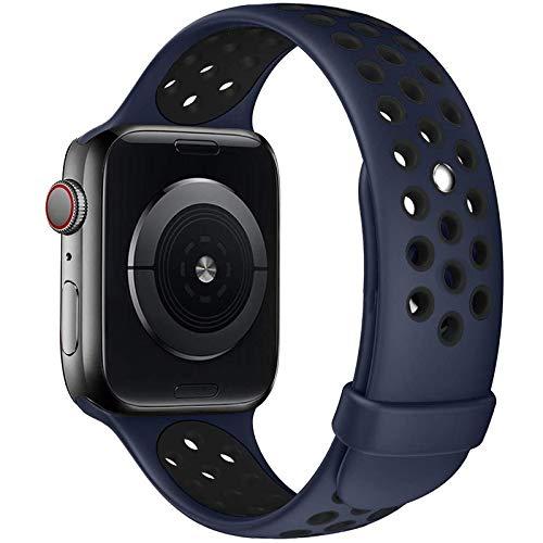 Fengyiyuda Kompatibel mit Apple Watch Armband 38mm 40mm 42mm 44mm, Weiche Silikon Sport Ersatz Armbänder für IWatch Series6SE Series5 Series4 Series3 Series2 Series1 42/44-M/L Midnight Blue&Black