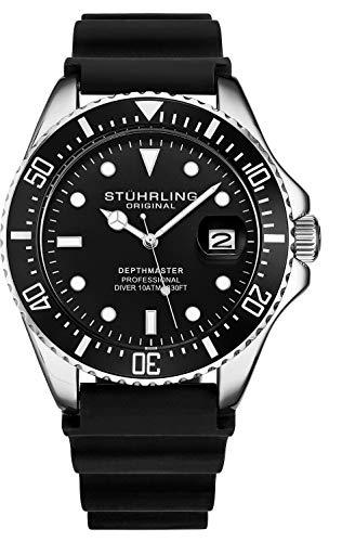 Stuhrling Original Taucheruhr für Herren - Pro Diving Watch - Sportuhren für Herren mit verschraubter Krone wasserdichte Uhr 330 Ft.- Schwarz Analoge Gummiuhr, Quarzuhrwerk (Schwarz) (Black)