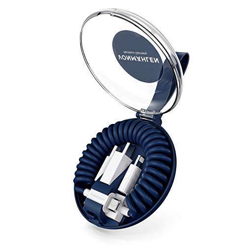 VONMÄHLEN allroundo All-in-One Ladekabel mit 5 Anschlüssen & Spiralkabel in Blau - Micro-USB, USB-C - 6in1 Universal Kabel für Handy & Mobile Endgeräte - Kompatibel mit iPhone, Samsung, Huawei etc.