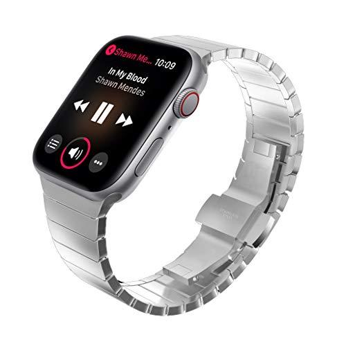 KADES kompatibel mit Apple watch Series 6 Series 5 Series 4 44mm Armband, Edelstahl-Gliederarmband für iWatch Series 1,2,3 42mm, Silber