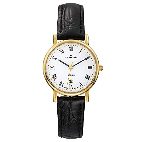 Dugena Damen Quarz-Armbanduhr, Saphirglas, Lederarmband, Zenit, Schwarz/Gold, 4460366