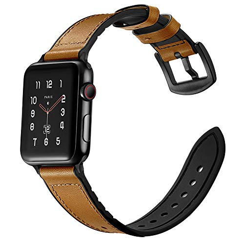 LeekaoWee kompatibel mit Apple Watch Armband 42mm 44mm, Lederarmband Uhrenarmband Ersatzarmband Leder und Silikon Design kompatibel mit iWatch Series 5/4/3/2/1