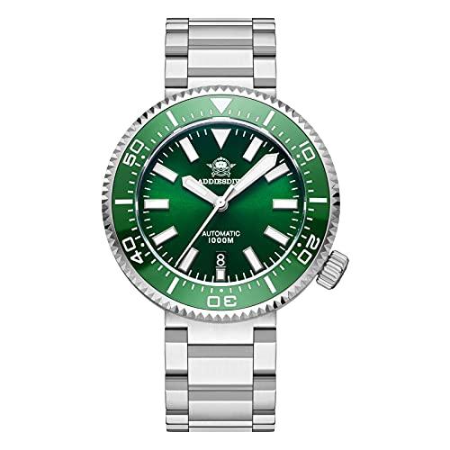 ADDIESDIVE taucheruhr Herren NH35A Automatik Automatikuhr 100bar wasserdicht Armbanduhren Mit Saphirglas Edelstahlarmband (Green)
