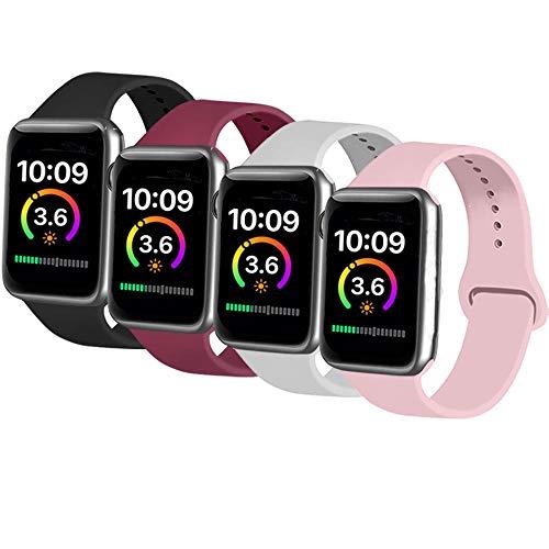 AK 4er-Set Kompatible Für Apple Watch Armband 38mm 42mm 40mm 44mm, Weiche Silikon Ersatz Armband für Apple Watch Series 5/4/2/3/1 (Schwarz/Grau/Weinrot/Rosa, 38mm/40mm-S/M)